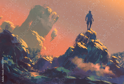 Spoed Foto op Canvas Koraal man standing on top of the hill watching the stars,illustration painting
