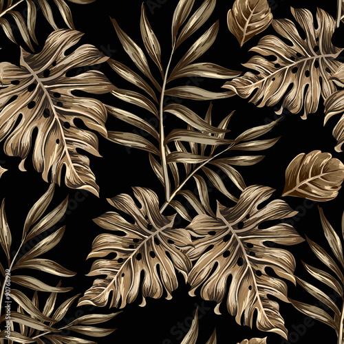 wzor-zlote-liscie-i-kwiaty