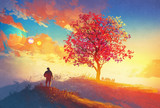 Fototapeta Las - autumn landscape with alone tree on mountain,coming home concept,illustration painting