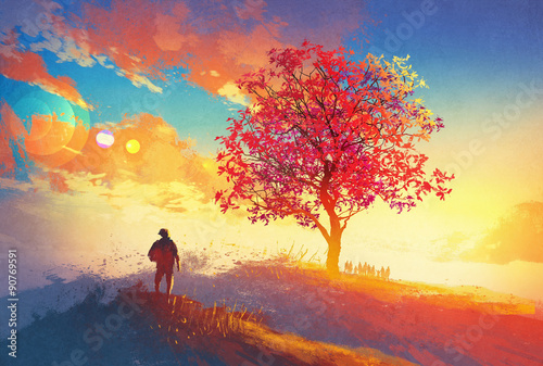 autumn landscape with alone tree on mountain,coming home concept,illustration pa плакат