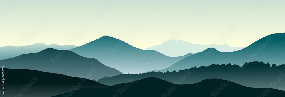 Fototapety, obrazy: Mountain landscape in the summer morning. Horizontal vector illustration.