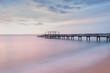 Panorama scene of wooden bridge along twilight sky at beautiful