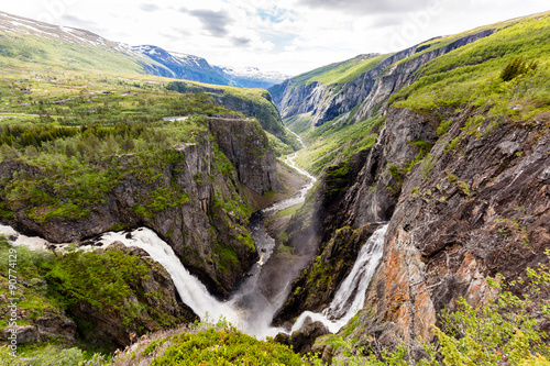 Poster Cappuccino Voringsfossen waterfalls near Hardangervidda in Norway