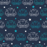 Vector Dark Blue Vintage Cars Stars Drawing Seamless Pattern