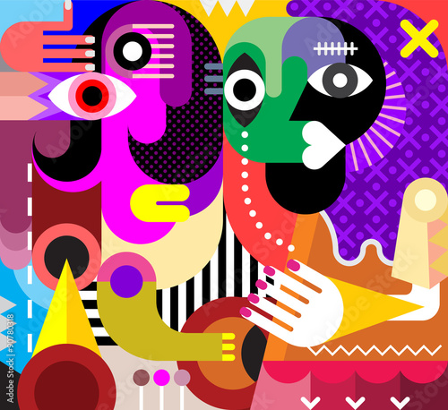 In de dag Abstractie Art Two Women