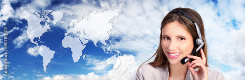 call center operator with map, global international contact conc