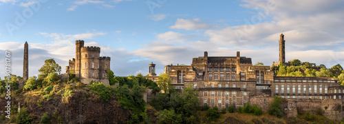 Roman ruins and castle on top of Calton Hill in Edinburgh, Scotland.