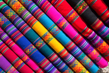 Colorful Fabric Folded And Stacked In A Pile