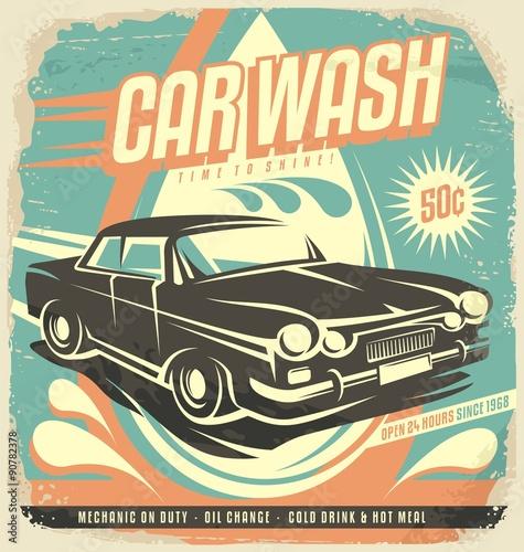Projekt plakatu retro myjni samochodowej