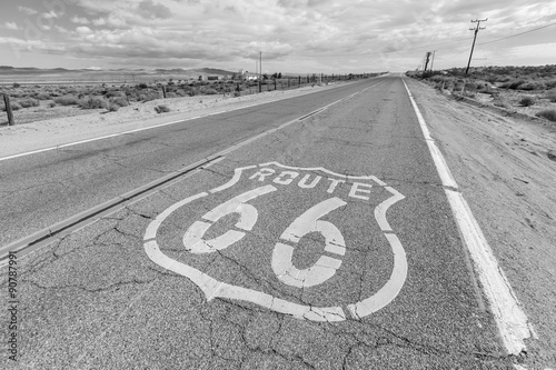 Wall Murals Route 66 Old Route 66 Pavement Sign Black and White