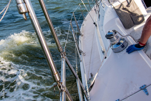 Foto op Canvas Zeilen sailing yacht in the open ocean
