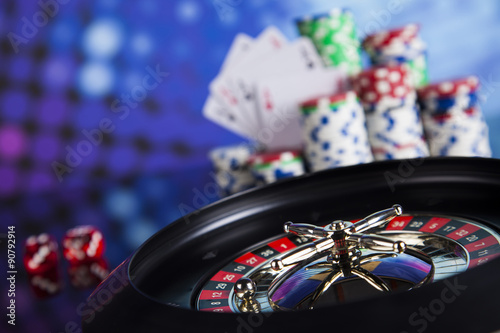 Roulette gambling in a casino плакат