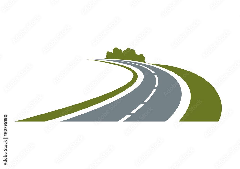Fototapeta Winding road with green roadside
