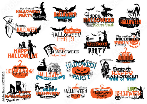 Fotografering Halloween party banners and headers