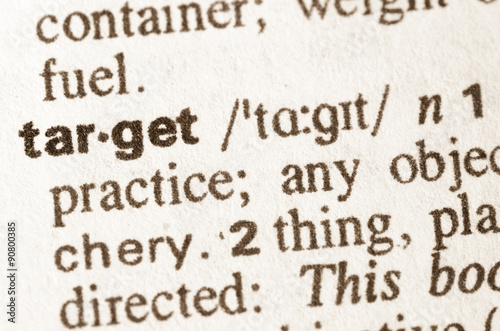 Photo  Dictionary definition of  word target