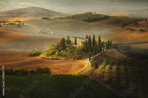 Valokuva  Tuscan landscape. Picturesque countryside villa