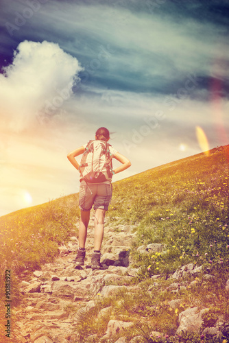 Poster Prune Female Hiker Pausing for a Break on Mountain Trail