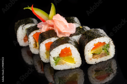 Maki sushi served on black background #90819323