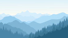 Beautiful Morning In The Blue Mountains. Vector Illustration.