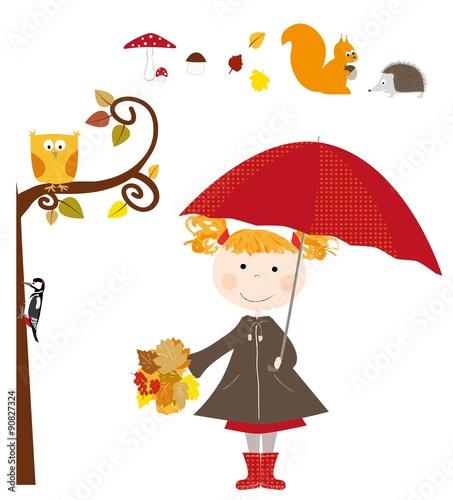 Fototapeta dziewczynka z parasolką i elementy jesienne / wektory obraz