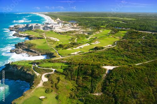 Fotografía  Caribbean sea from helicopter view, Dominican Republic