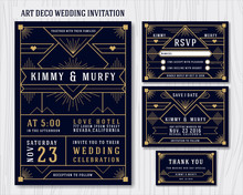 Art Deco Wedding Invitation De...