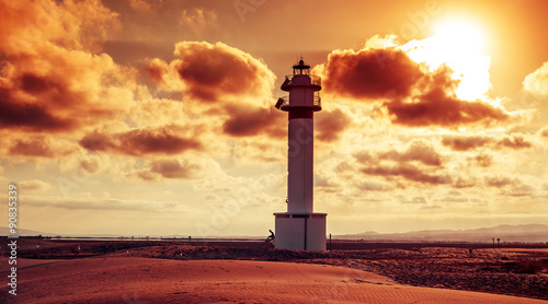Garden Poster Lighthouse lighthouse at El Fangar, in the Ebro Delta, in Spain