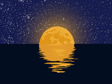 Starry Sky And Full Moon With Reflection In The Water. Vector Illustration.