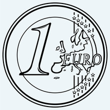 One Euro Coin. Isolated On Blu...