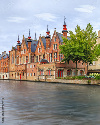 Foto op Canvas Kanaal Bruges historical houses and canals