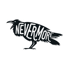 Raven Illustration With Word N...