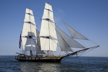 Tall Ship With American Flag S...