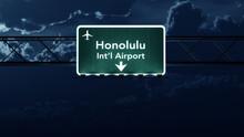 Honolulu USA Airport Highway Sign At Night
