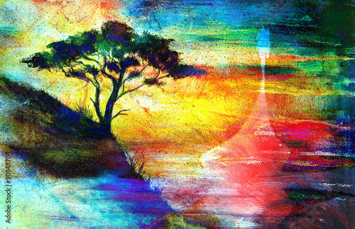 Fototapety, obrazy: Viking Boat and tree on the beach, collage wallpaper landscape.