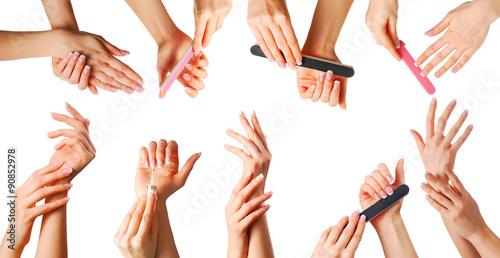 Staande foto Manicure Beautiful hands set