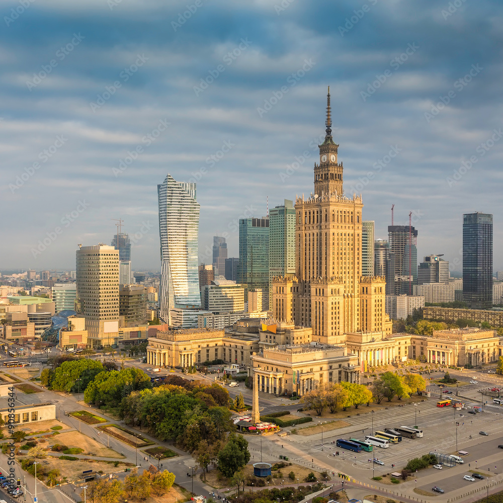 Fototapeta Warsaw downtown sunrise aerial view, Poland