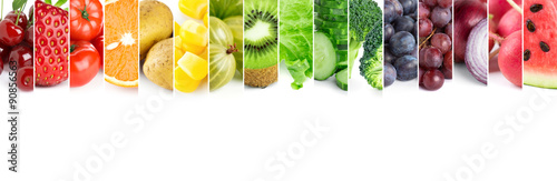 Poster Cuisine Fresh color fruits and vegetables