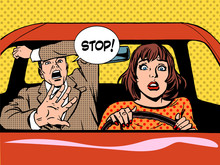 Stop Woman Driver Driving Scho...