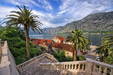 Fototapeta Schody Picturesque Kotor Bay, Montenegro