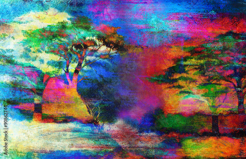 Fototapety, obrazy: Painting sunset, sea and tree, wallpaper landscape color collage