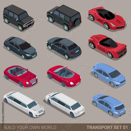 Flat 3d isometric city road transport icon set