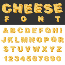 Cheese Slice Isolated Letters And Numbers Latin Font