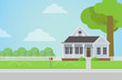 Flat style vector countryside family house with backyard