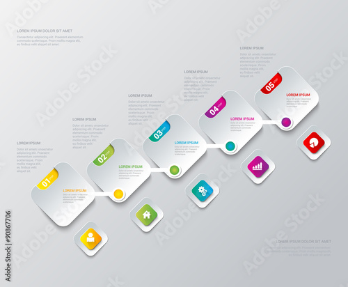 Vector Process Steps Labels Infographics Template Background Buy - Process steps template