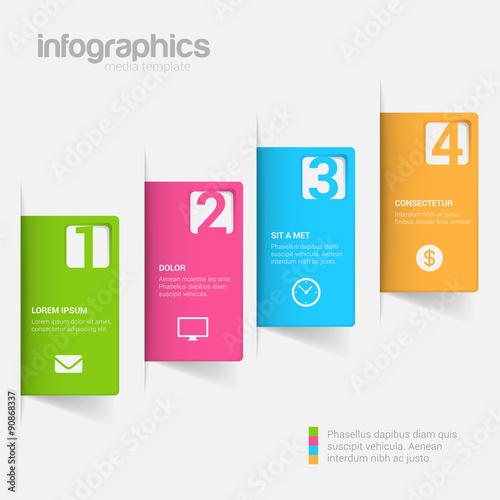 Fotografía  Step label 3D infographics mockup template vector background