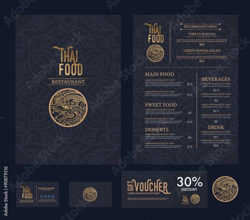 Foto vector thai food restaurant menu template.
