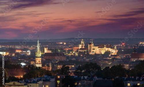 Fototapeta Evening panorama of Krakow old city, Poland, from Krakus Mound obraz