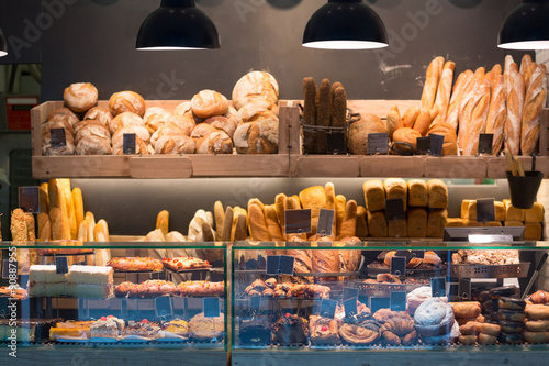 Modern bakery with assortment of bread Canvas Print