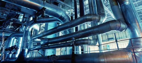 Fototapeta Industrial zone, Steel pipelines, valves and pumps obraz