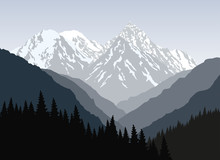 Beautiful Mountain Landscape At Morning. Vector Illustration.